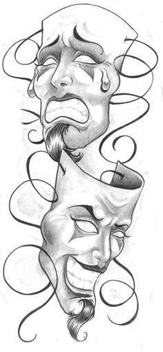 Человек с масками тату